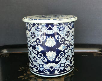 Vintage Delft Tin Canister Blue and White Dutch Biscuit Tin Made in Holland