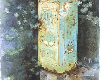 Olive Oil Can, Watercolour Giclée print