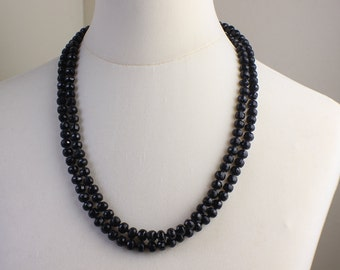 1920s Vintage Very Long Black Faceted Glass Beaded Necklace