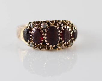 Antique Hallmarked 9ct Gold and Multi Garnet  and Seed Pearl Set Ladies Ring   Size UK N 1/2  and US 7  Dates 1919