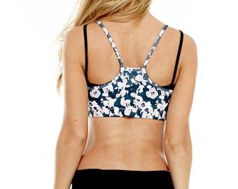 "Yoga Bra - Layered Yoga Bra ""Flower Camo"" - Cotton Yoga Bra - Sports Bra - Yoga Wear - Dance Wear"