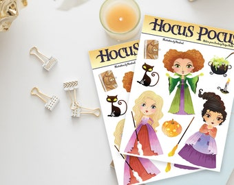 Stickers / Hocus Pocus Stickers / Halloween, Hocus Pocus / Sanderson Sisters / Winifred Sanderson, Sarah Sanderson, Mary Sanderson / Witches