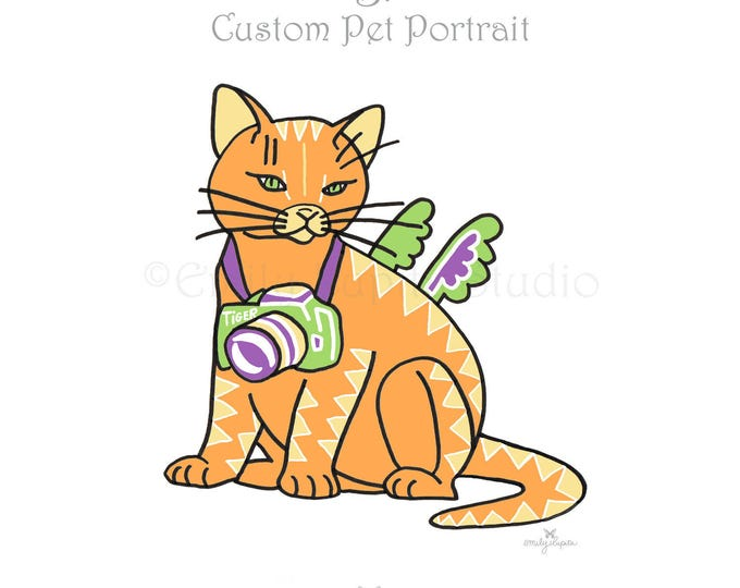 Featured listing image: Custom Pet Portrait / Cats Dogs Birds Horses Animals / Pet Memorial / Pet Loss / Personalized Illustration of Your Pet