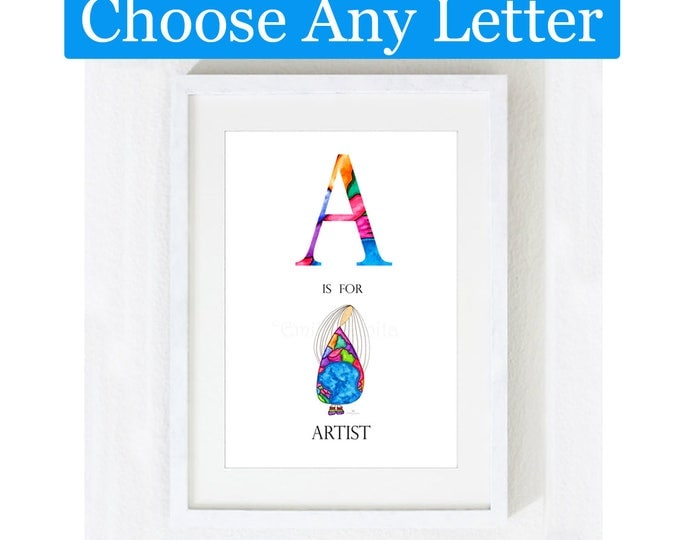Featured listing image: Painting / Art Print / Alphabet Letters Unique Gift / Children Kids / Nursery Baby Girl's Room / Angel Inspirational Home Decor Artwork