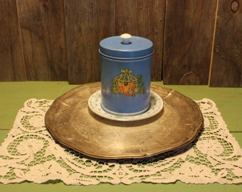 Blue Tin Can Flower Decal Cottage Chic Metal Cannister Kitchen Home Decor Vintage 1980s 80s (ST)