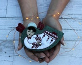 Angel - Christmas Ornament in hand cut and embroidered felt with bell