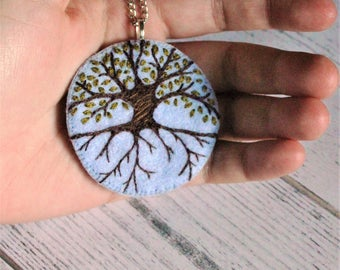 Tree of Life Pendant - hand embroidered  sky blue ecofelt,  with tree and Summer theme