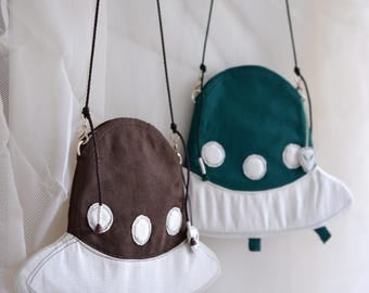 Alien On Board - UFO space ship shaped small shoulder bag, dark green and brown colour. style97. Ready to ship