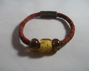 Bracelet - Brown Bracelet - Magnetic Closure - Woven Native Bracelet - Glass Bead Bracelet - Unisex Bracelet -  Earthtone Colored Bracelet