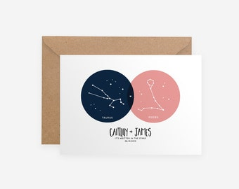 Valentines Day Gift Love Couple Funny Anniversary Moon Stars Custom Personalised Venn Diagram Nerdy Geeky Zodiac Horoscope Card Unique