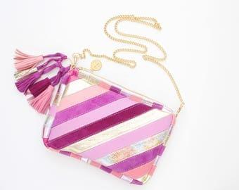 Small shoulder bag. Natural leather purse. Stripe statement purse. Crossbody bag. Geometric bag. Tassel bag. Pink purple gold/MINI RAINBOW 5