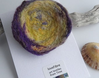 Yellow and purple handmade felt brooch, made in Scotland