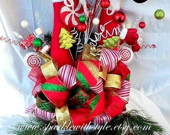 HUGE! 360 VIEW Christmas Tree Topper OR Centerpiece! - Tree Topper Bow - Christmas Bow - Raz Imports Tree Topper - Mesh Tree Topper - Santa