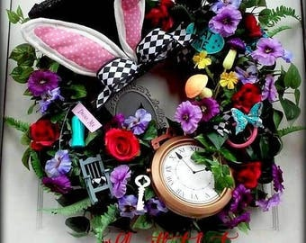 VeRY LiMITED AvAILABILITY! Mad Hatter Wreath - Alice In Wonderland Theme - Top Hat Bunny Wreath - Bunny Ear Wreath