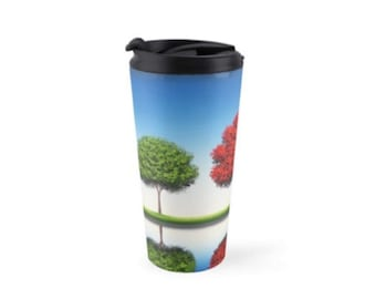 Travel Tumbler, 15oz Travel Coffee Mug, Blue Sky Tree Art Mug, Travel Cup with Lid, Coffee Cup, Tea Cup Coffee Tumbler, Fun Drinkware