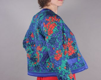Amazing 80s Jewel Tone Quilted Paint Stroke Fitted Jacket Blazer