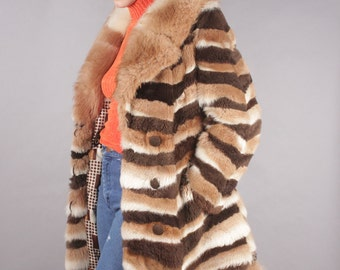 Vintage AMAZING Tri-Colored Long Mink Coat w Fur Collar