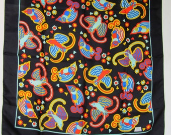 GORGEOUS Vintage Liberty of London Black Abstract Birds Silk Scarf  NOS