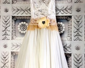 Reserved for Brook white & tan knife pleated lace boho wedding dress by mermaidmisskristin
