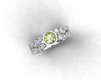 Yellow sapphire and 1.36ct diamond engagement ring made from white gold, sapphire ring, diamond engagement, unique, yellow, bezel, milgrain
