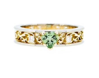 10% SALE size 7, Heart cut green tourmaline and diamond filigree engagement ring made from yellow and white gold, green, tourmaline, unique