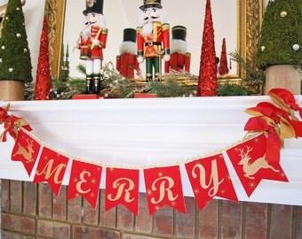 CHRISTMAS GARLAND BANNER / Christmas decorations / Christmas banner / Christmas garland / Christmas mantle. Merry Christmas / Christmas gift