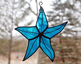 Stained Glass Starfish, Sky Blue Iridescent, Beach Decor, Glass Art