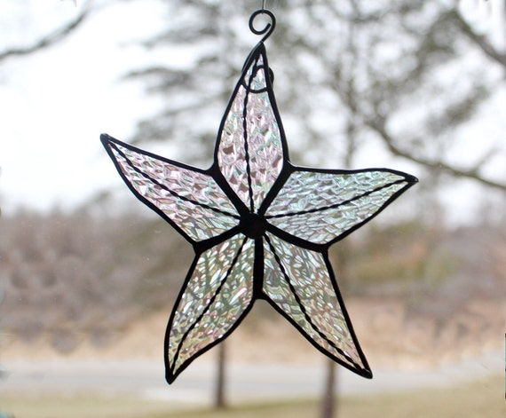 Stained Glass Starfish, Clear Iridescent