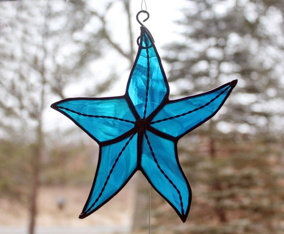 Stained Glass Starfish, Sky Blue Iridescent