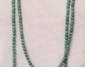 "Long Turquoise Necklace - Blue Necklace - Double Wrap - Single - NECKLACE IN PHOTO is 50"" Long"