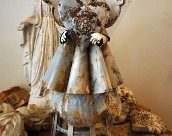 Handmade tin angel sculpture French Santos rusty metal angelic figure w/ lantern base distressed blue white cottage decor anita spero design