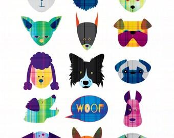Plaid Dogs Art Print