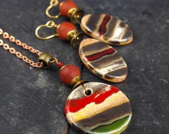 Ethnic jewelry,Boho chic,Boho outfit,Fashion necklace,Red Jasper earrings,Stone earrings,Oval jewelry,Bohemian jewelry,Stripe jewelry