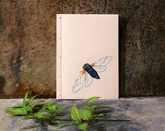 Cicada. Embroidered A6 Notebook. Cicada Notepad. Garden Mini Journal. Pocket Journal. Nature Jotter. Cute Cicada. Summer Notepad. Entomology