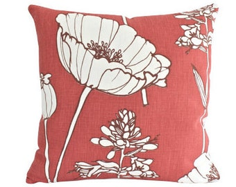 Faded Brick Red Poppyfield Kravet Linen Pillow Cover by Thom Filicia