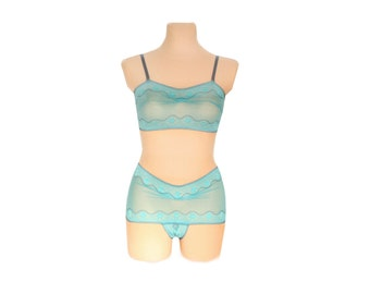 Bra Lingerie  - Turquoise Dream  // Undies Bra in playful French Lace handmade of Fransik