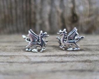 Vintage 925 Sterling Silver Dragon Stud Earrings