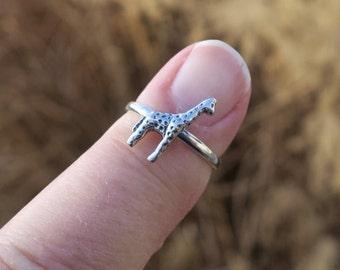 Cute Vintage 925 Sterling Silver Giraffe Ring
