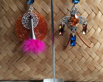 "Colorful ethnic Bohemian hoops, swarovski crystal, tassel charms ""Colors"" and fur"