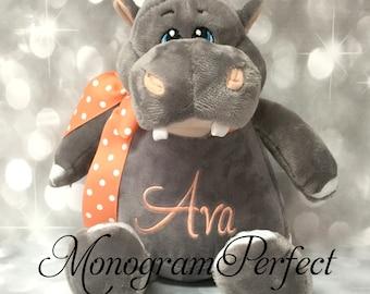 AVA - Already Personalized - Plush Gray Hippo Stuffed Animal - Ready To Ship
