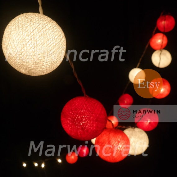 20 Cotton Balls Mixed Coral-Red Tone Fairy String Lights Party Patio Wedding Floor Table Hanging Wall Gift Home Decor Living Bedroom Night