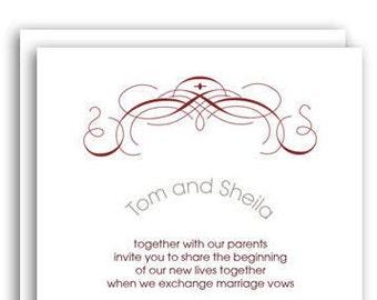Marsala Red and Grey Flourish Wedding Invitation Set