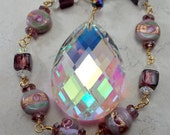 Sun Catcher Aurora Borealis with Vintage Inspired Lampwork Purple and Pink Beads and Brass Handmade Chain