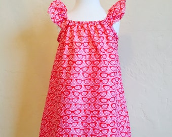 Flutter Sleeve Peasant Dress, Pink Cat Eye Glasses