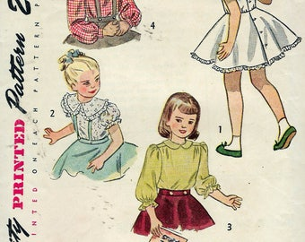 Vintage 1948 Simplicity 2534 Child's Blouse and Blouse and Petticoat Combination Sewing Pattern Size 5 Breast 23 1/2""