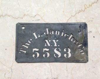 Antique Brass Stencil, L. Janicke Company, NY, Antique Crate Stecil, Fruit Crate Stencil, Industrial Stencil, Advertising Stencil