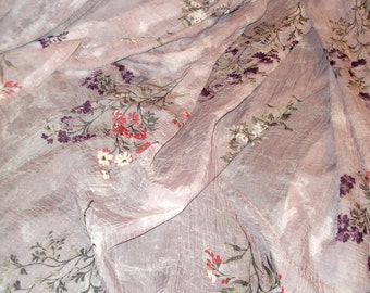 "Extra Long Semi Sheer Lavender and Coral Flower print Scarf Valance  53"" x 220""  (2 available)"