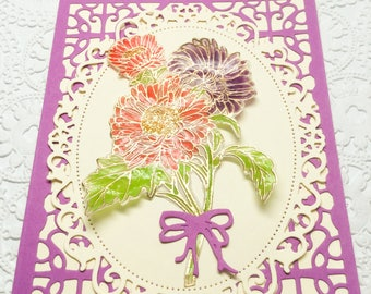 Handmade cards: asters - vellum flowers - blank flower card - I adore you -  purple flowers - hand stamped - embossed - Wcards