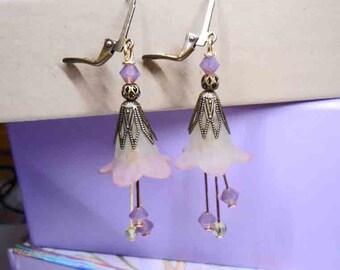 Flower Earrings, Holiday Earrings, Gifts For Her,  Fairyland  Earrings, Dangle Earrings, Whimiscal Earrings, Beaded Earrings and Jewelry
