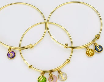 Mom bracelet birthstone Family bracelet Personalized Birthstone bangle bracelet grandma jewelry, stacking bangle, mothers initial bracelet